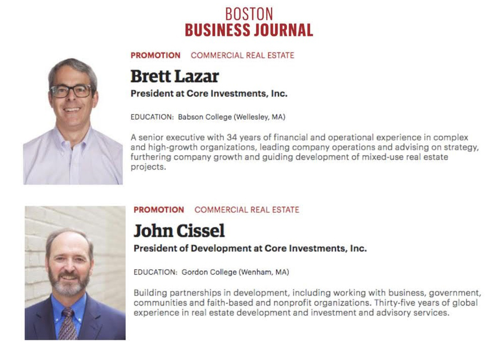 BOSTON BUSINESS JOURNAL: People on the Move – Brett Lazar and John Cissel