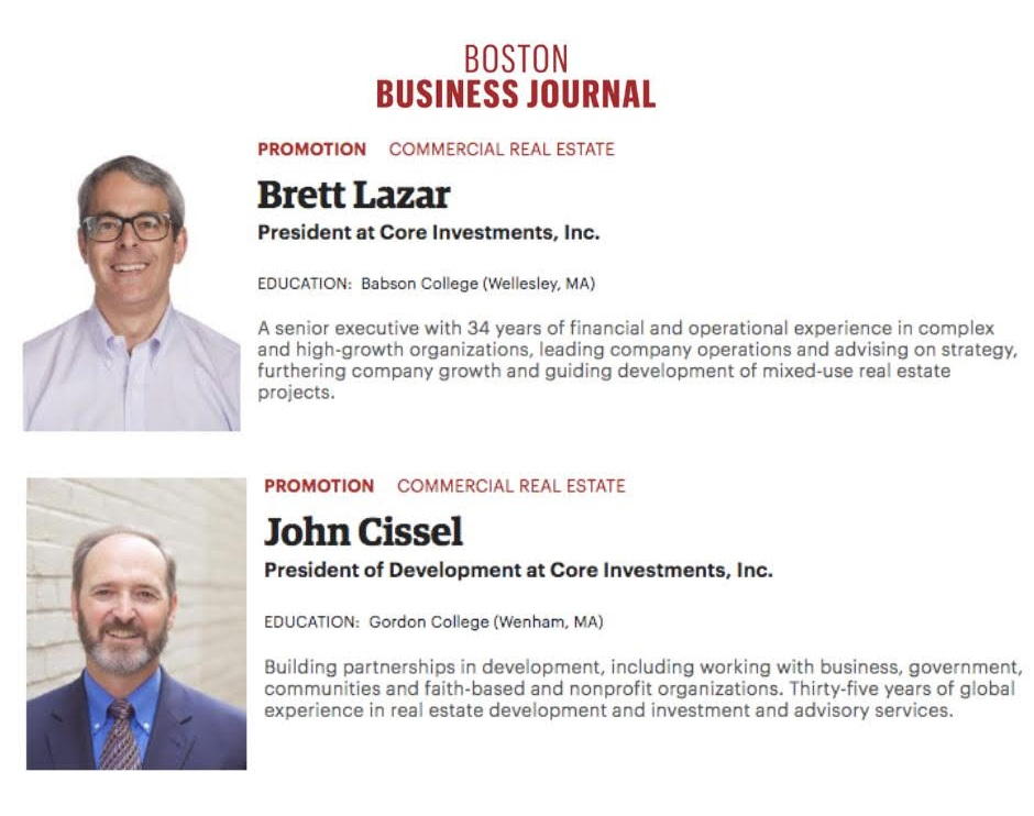 Boston Business Journal People on the Move: Brett Lazar and John Cissel