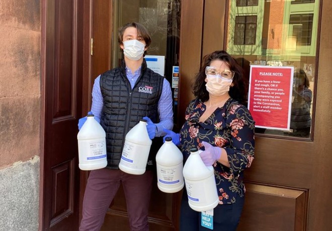 MEDIA RELEASE: Core Investments, GrandTen Deliver Hand Sanitizer in Southie